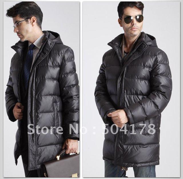 Commercial Men Down Coat Hooded Medium Long Down Jacket Male Anti ...