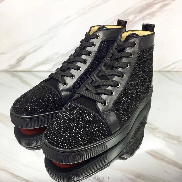 8473feb07940 High-top Outdoor sport cl andgz Lace-up Special material Shoes Fashion  Party Red bottom Shoes Sneakers leather casual shoes 2018