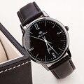 Relógios baratos Moda Unissex Casual Relógios Ultra-fino Relógio de Quartzo de Couro Ocasional das Mulheres & Homens Relogio de Pulso kol saati