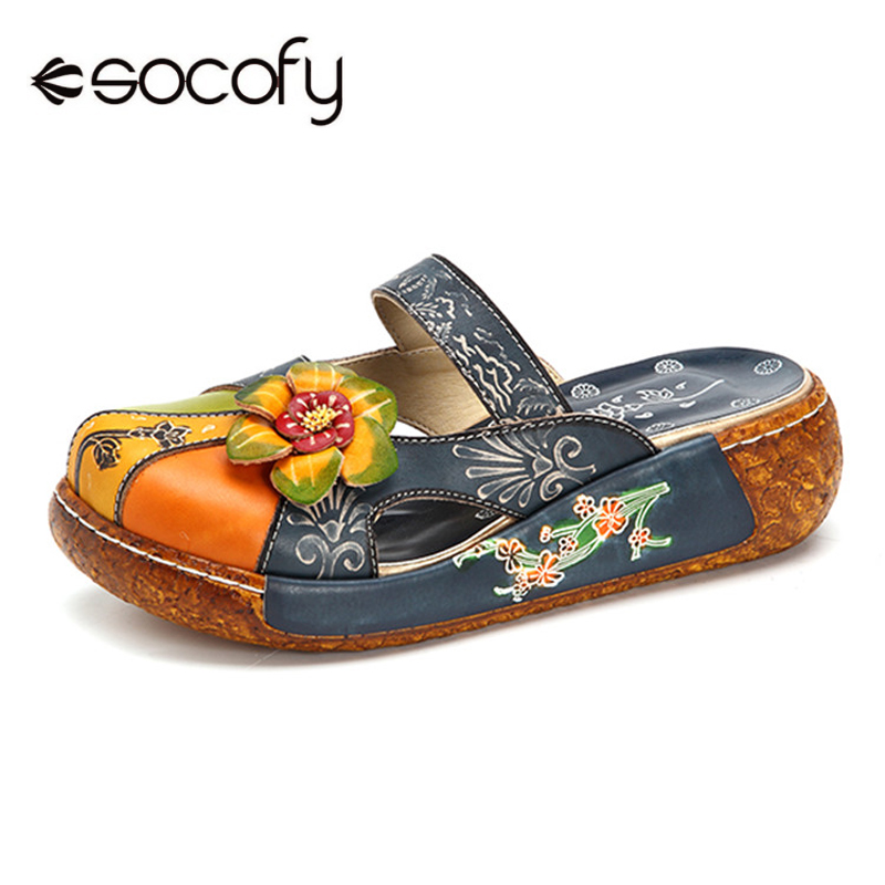 Socofy Casual Vintage Flat Shoes Women Printed Leather Bohemian Summer Beach Shoes Retro Flower Backless Slip-on Flats Zapatos colorful waterdrop flower printed round beach throw