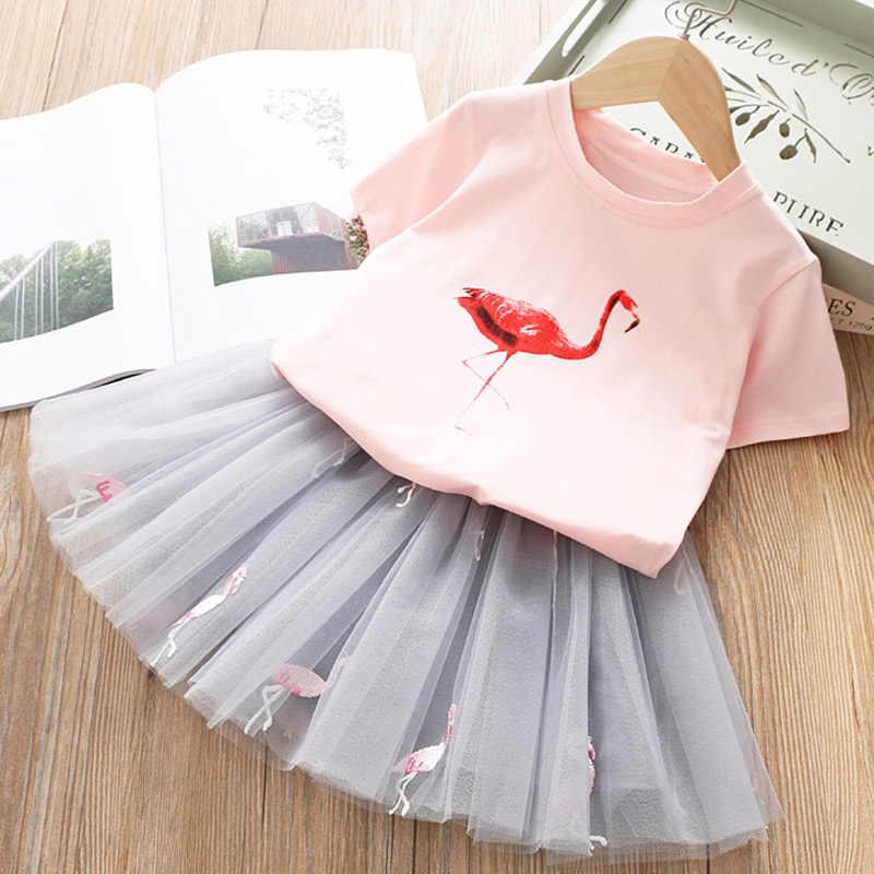 Melario dziewczyny ubrania nowe letnie maluch dziewczyna ustawia ubrania dla dzieci Dot z krótkim rękawem Top kot kreskówka spódnica 2 sztuka zestaw dziewczyna zestaw sukienka