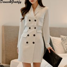 e07107f440 Korean Autumn Women Double Breasted Office Work Bodycon Dress 2018 New  Striped Business Notched Collar Pencil Dress