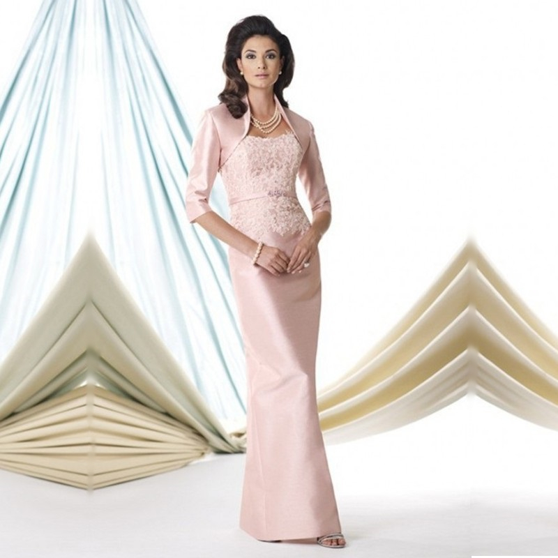 2015 Best Selling Pink Satin Mother of The Bride font b Dresses b font with Lace
