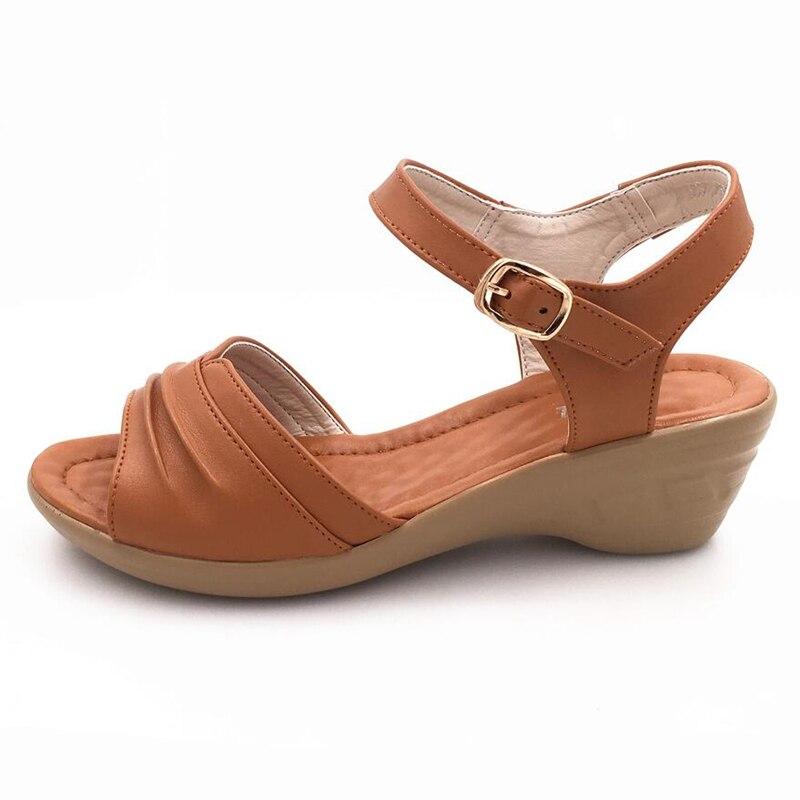 Sandales Confortable 193 Cuir Kipper Cales Sandals Femmes Véritable En Femme Maman Brown Pente D'été 193 Black Breathbale Doux 2017 De Sandals 35 43 PWqrSP