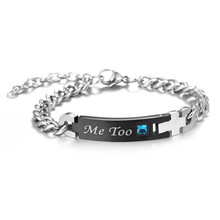 Hot sell Stainless Steel Romantic I Do Me Too Crystal Bracelet For Women Men Bangles Couple Jewelry