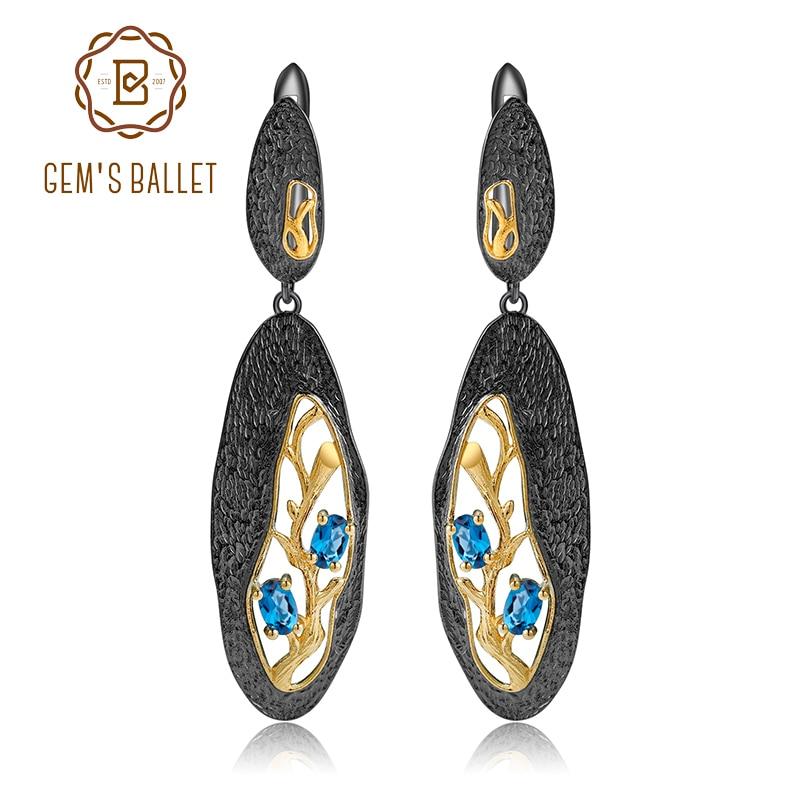 GEM S BALLET 925 Sterling Silver Natural London Blue Topaz Handmade Petal Floral Drop Earrings for