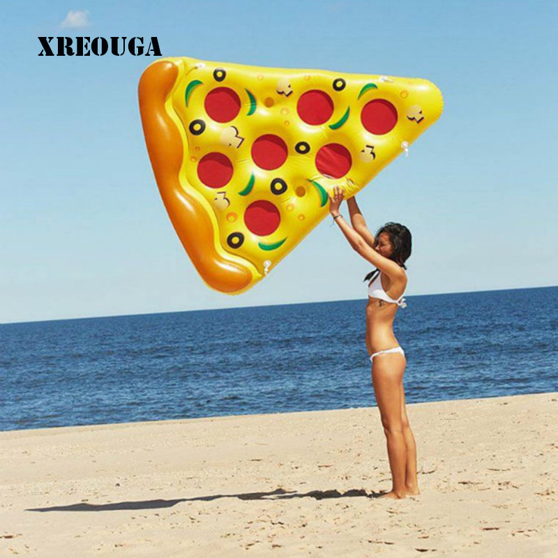 Water Toy Giant Yellow Inflatable Pizza Slice Floating Bed/Raft Air Mattress 180*130cm Summer Holiday Pool Party PF028 kid s thicken pizza shape inflatable water toy outdoor swimming ring adult child beach pool sea toy summer cute floating bed