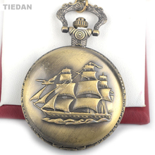 TIEDAN New Arrival Sailing Canvas Boat Ship Antique Retro Quartz Pocket Watches with Chain Necklace Watch for Man & Woman Gifts