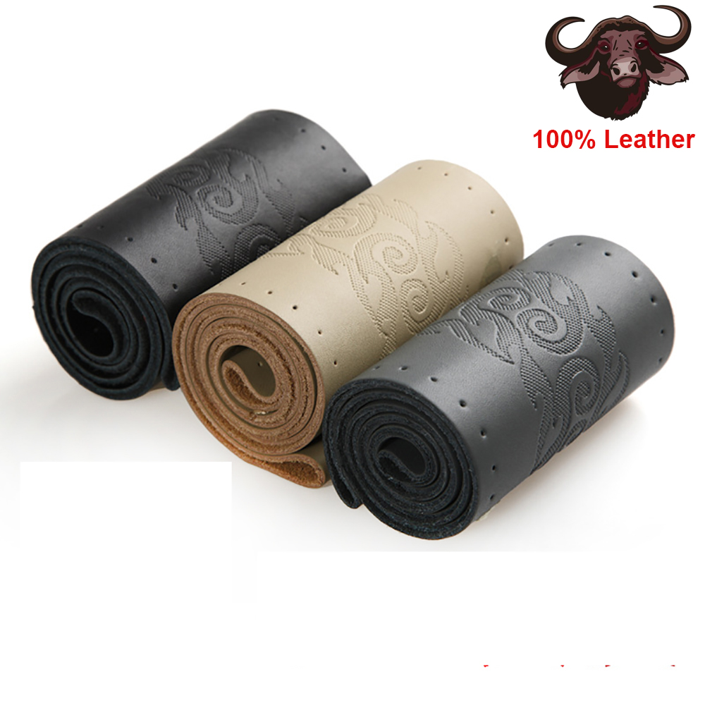 True Cowhide Hand-stitching Braid On Car Steering Wheel Steering Wheel Cover 3D Soft Feel With Needle And Line Diameter 36-40 cm