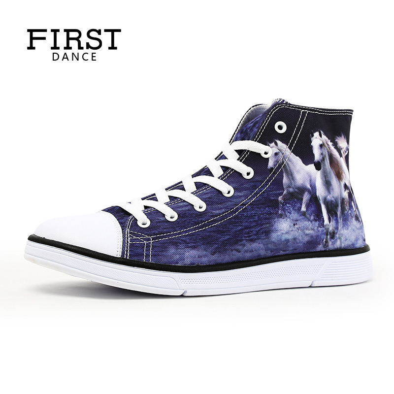 FIRST DANCE High Top Classic Canvas Shoes For Men Flats Superstar Shoes Breathable Men's Casual Shoes Fashion Customize Prints image