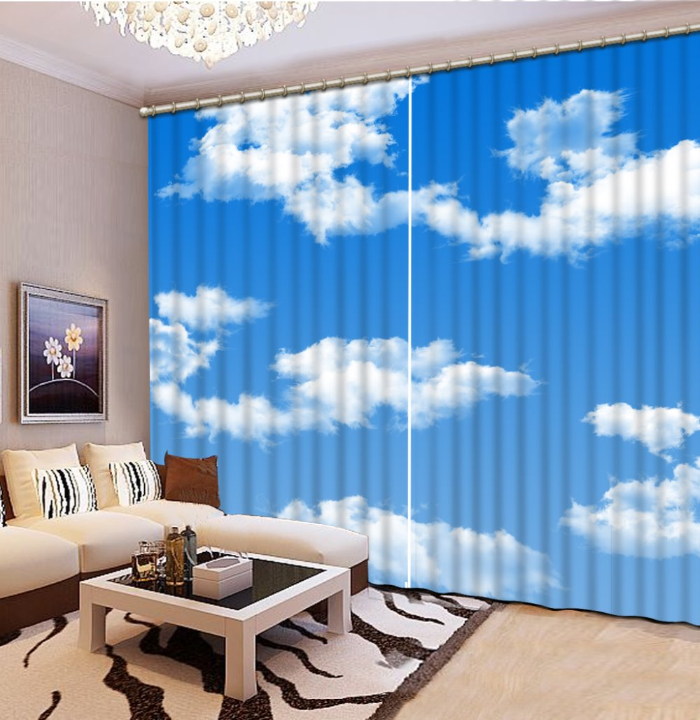 Custom 3d Stereoscopic Curtains Blue Sky And White Clouds Bedroom Luxury  Curtains Christmas Window Curtains(
