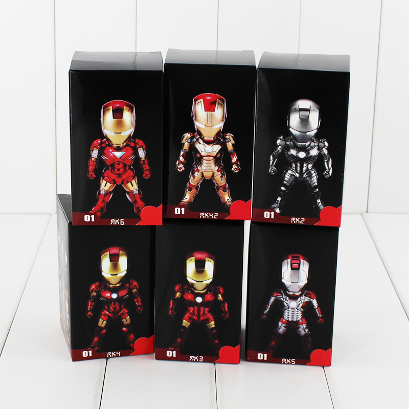 6pcs set Iron Man Q Version PVC Action Figure Toys With Led Light Collectible Models Birthday