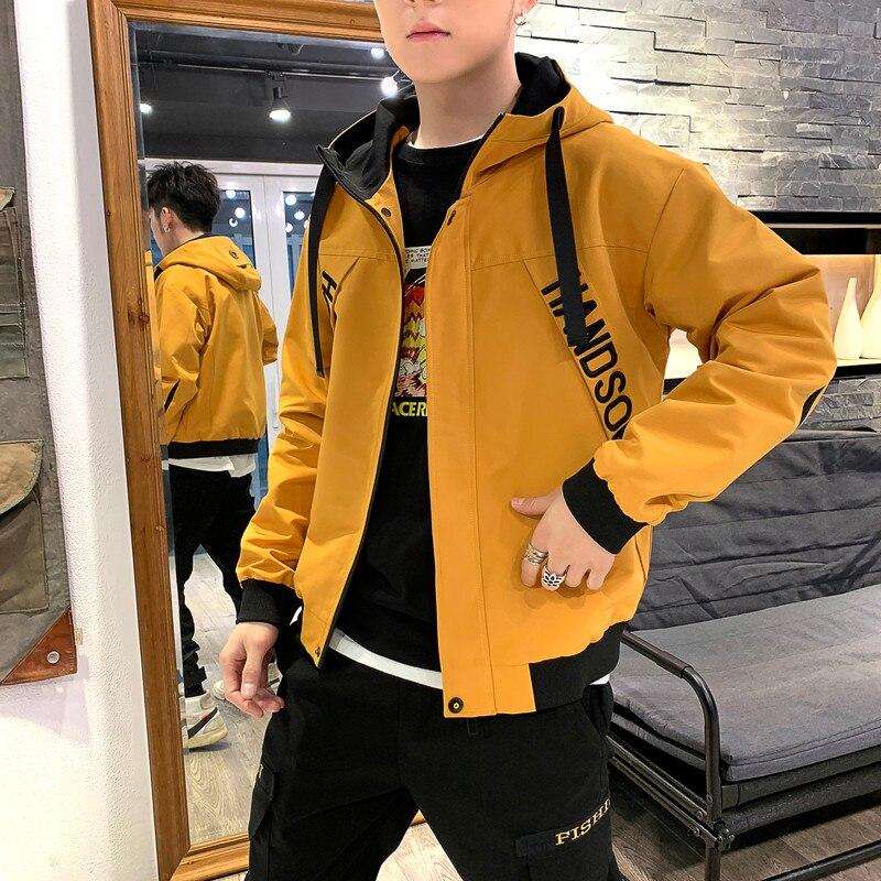 Fashion Design Bomber Jacket Men Letter Hooded Mens Jacket Tracksuit High Street Coats Hip Hop Male Streetwear Couple Windproof