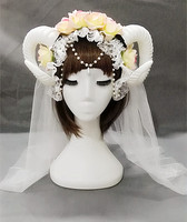 Mori Girls Lace Gothic Headband Lolita Hair Accessory Cosplay Sheep Horn Veil Hairbands Christmas gift A