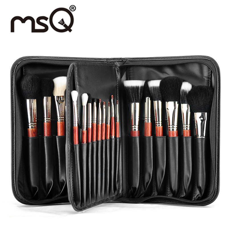 ФОТО MSQ  Pro 29pcs/set Best Goat &Mink Hair Makeup Brush Set With A PU Leather Makeup Kit Cosmetics Pincel Maquiagem Free Shipping