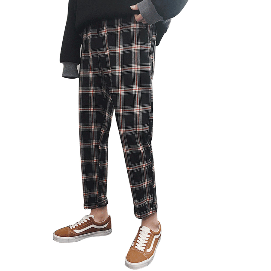 2250ecb7a924 Plaid Harem Pants Men Japanese Harajuku Trousers Men Japan Style High  Street Streetwear Hip Hop Mens