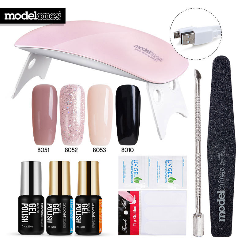 Modelones 11Pcs Lot SUNmini UV Lamp Beigner Practice Nail Art Tools DIY Nail Design UV Nail Manicure Kit Any 4 Colors Gel In Set