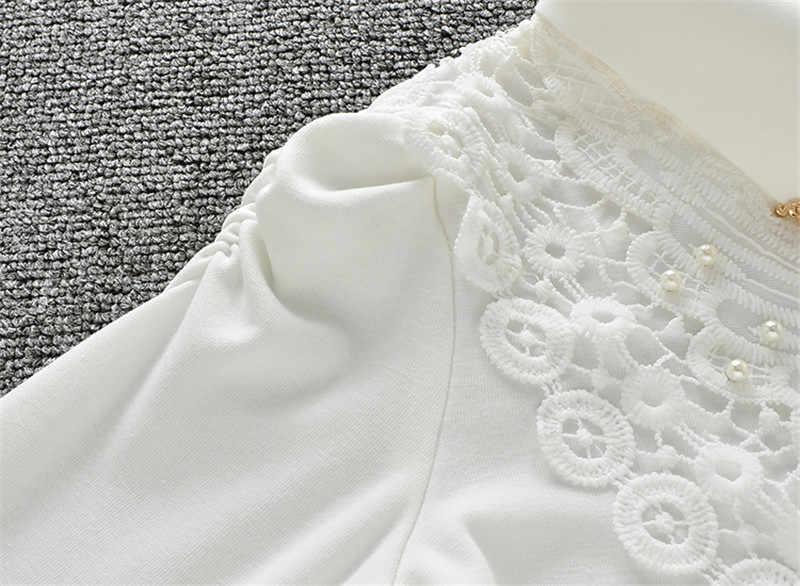 57a6a18c5 3-15Y niñas blusa blanca encaje escuela chica blusa para niñas camisas de  manga larga primavera y otoño moda camisa niños ropa AA1985