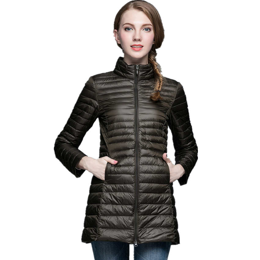 Winter New White Duck Down 90% Womens Long Coats Slim Women Down Jackets Female Ultra-li ...