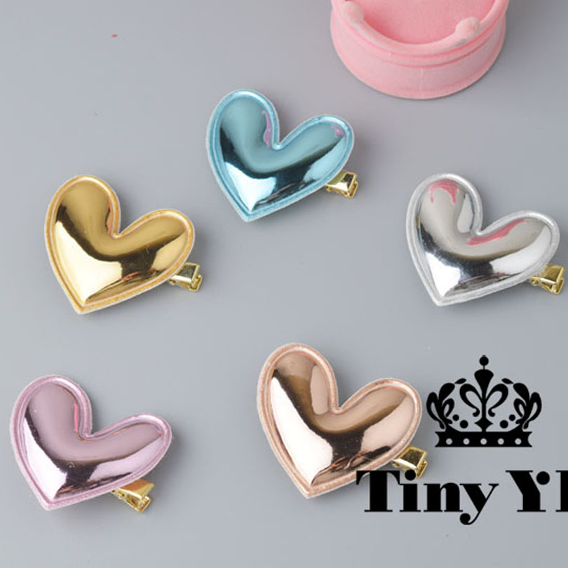 1 piece Gloss PU Leather Heart Hair Clip Gold Silver Shinny Girls Hairpin Blue Glitter Pretty Kid Pink Birthday Party Barrette 20pc lot glitter fairy princess hair clip top quality brand hairpin girls kid hair barrette cute 5cm butterfly summer style