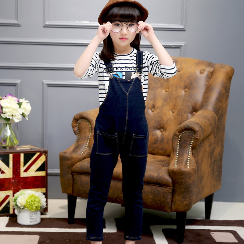 2017 Spring Fall Teenage Girls Casual Denim Overalls Pants Children's Leisure Jeans Trousers Kids Dark Navy Suspenders Overall