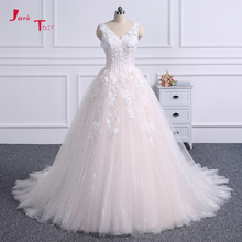 Jark Tozr V-neck A-line Wedding Dress Lace Up Back