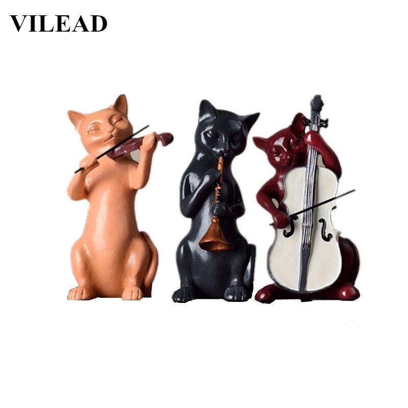 VILEAD 3pc/Set Resin Music Cats Statue Violin Sculpture Musician Figurine Cute Animal Ornament Window Display Cabinet Home Decor