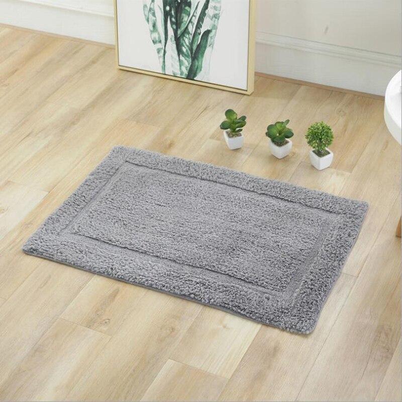 Tapis de salle de bain 100% coton couleur unie absorbant doux salle de bain tapis cuisine Shaggy bain tapis antidérapant décoration de la maison tapis
