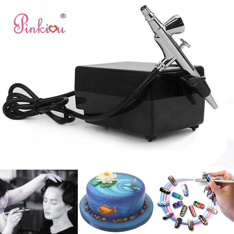 Black Airbrush Compressor Kit 0.4mm Aerograph Cosmetics Airbrush For Nails Art, Face Make up,Cake Coloring,Tattoo Hobby