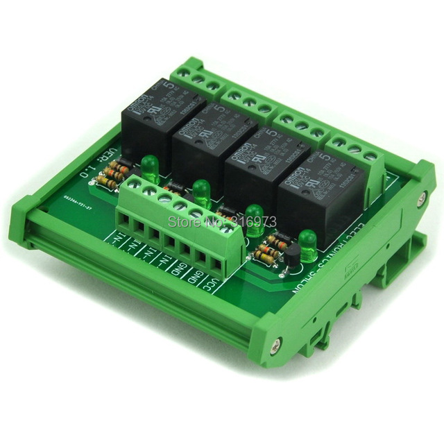 DIN Рейку 4 SPDT Силовых Реле Интерфейсный Модуль, OMRON Реле 10А, 5 В Катушки.