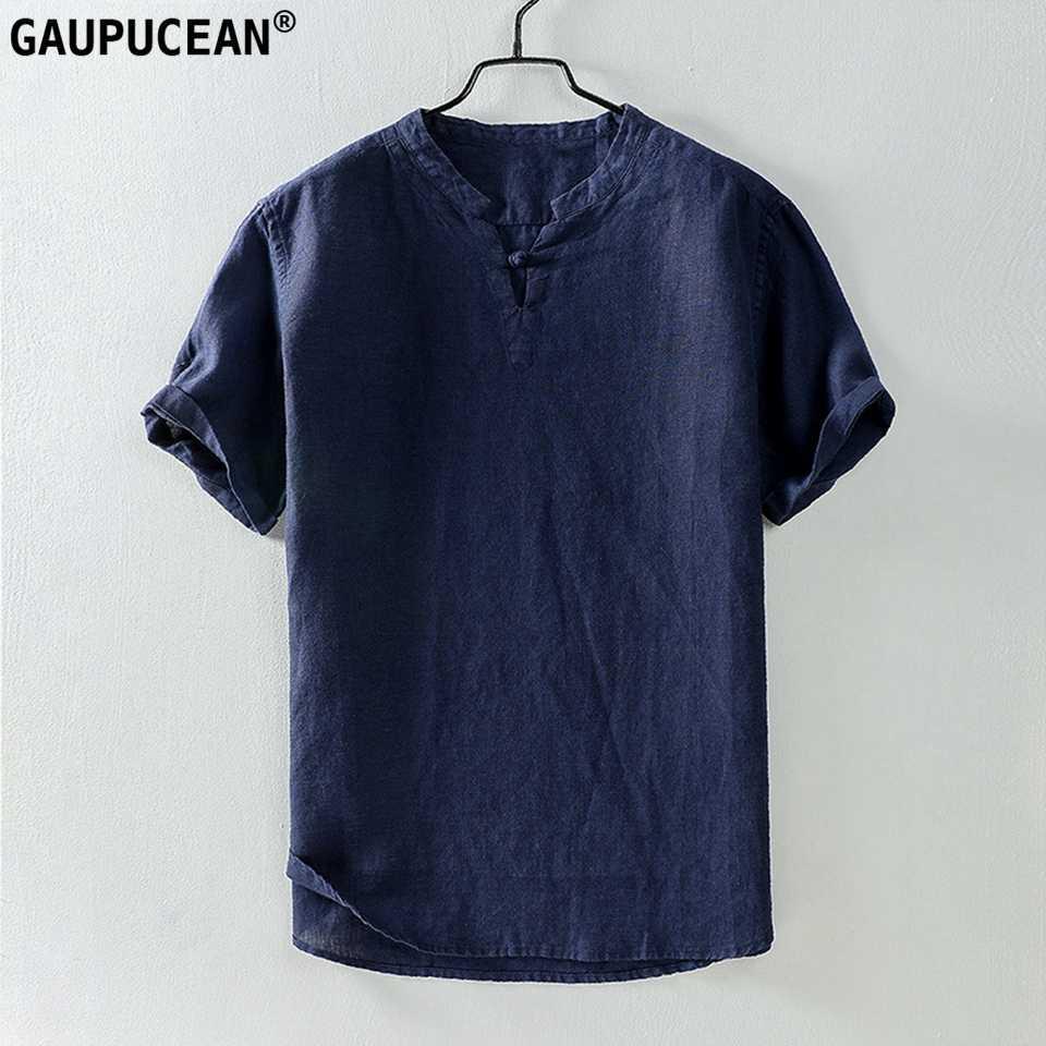 ผ้าลินิน 100% Cool แห้ง Fast Breathable Anti-static Anti-รังสี Man เสื้อยืดคุณภาพสีเทาฤดูร้อนผ้าลินินแขนสั้นผู้ชาย T เสื้อ