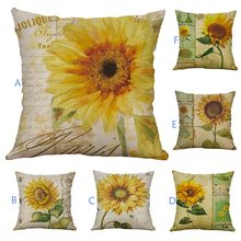 Sunflower Print Cushion Cover Home Car Bed Sofa Decorative Letter Pillow Case Linen Blend Cushion Cover 40*40/45*45CM(China)