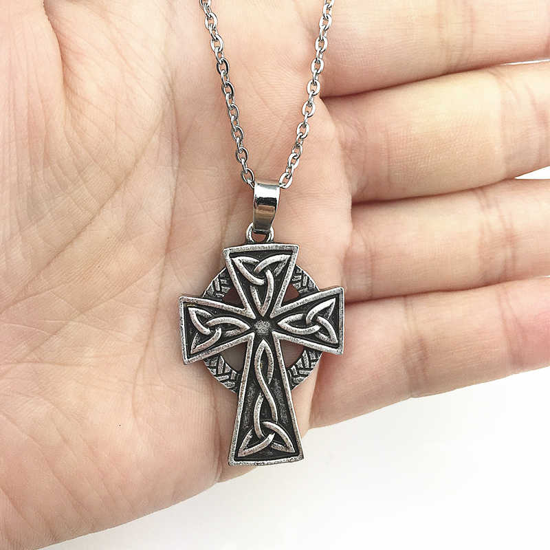 1pc Irish Celtics Pendant Necklace Religious Necklace Irish Cross Jewelry