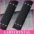 Ladycrystal 1 Pair Couro PU de Alta Qualidade Auto Cinto de segurança Capa Cristal Rhinestone Estilo Do Carro Assento de Carro Ombro Cinto Pad