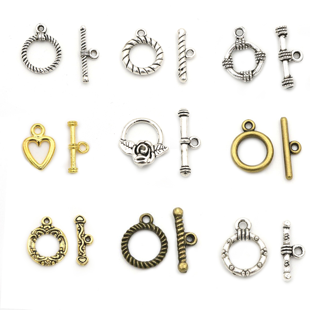 10 Sets Gold Silver Color Heart Flower Fastener Bracelet Toggle Clasp For Jewelry Making