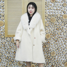 2019 Autumn Winter New Fashion Woman overcoat Real Sheep Fur sashes real fox fur collar Thick Warm Outerwear