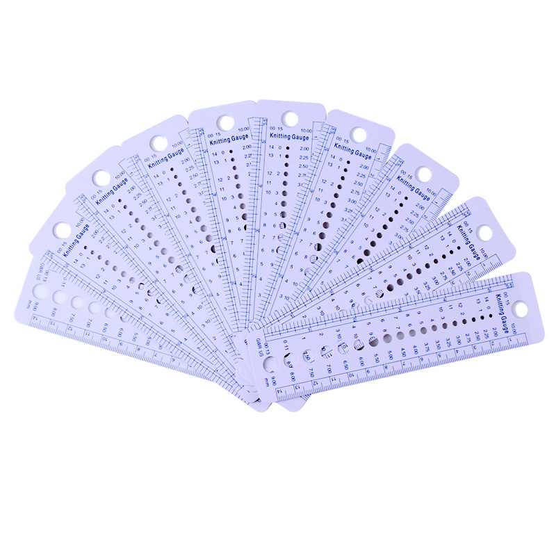 Knitting Needle Sizes Uk : Free shipping pcs plastic knitting needle gauge ruler