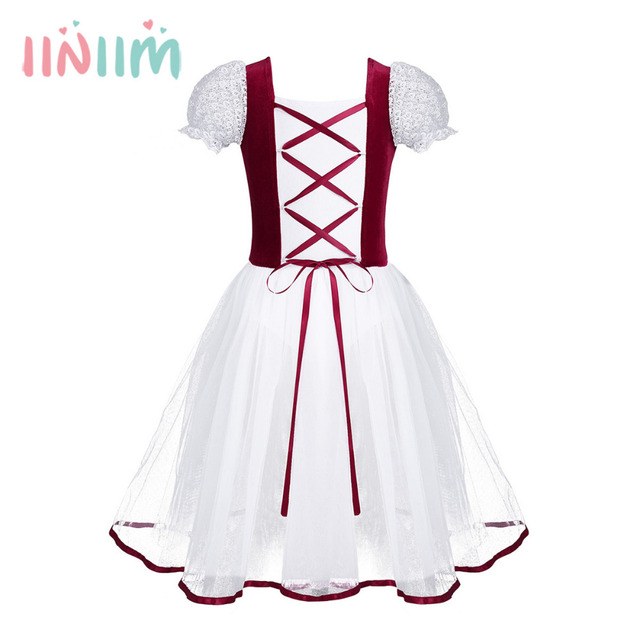 iiniim Kids Girls Velvet Mesh Lacework Short Bubble Sleeves Ballet Dance  Gymnastics Leotard Tutu Dress Formal Princess Dress fc8e88f046d