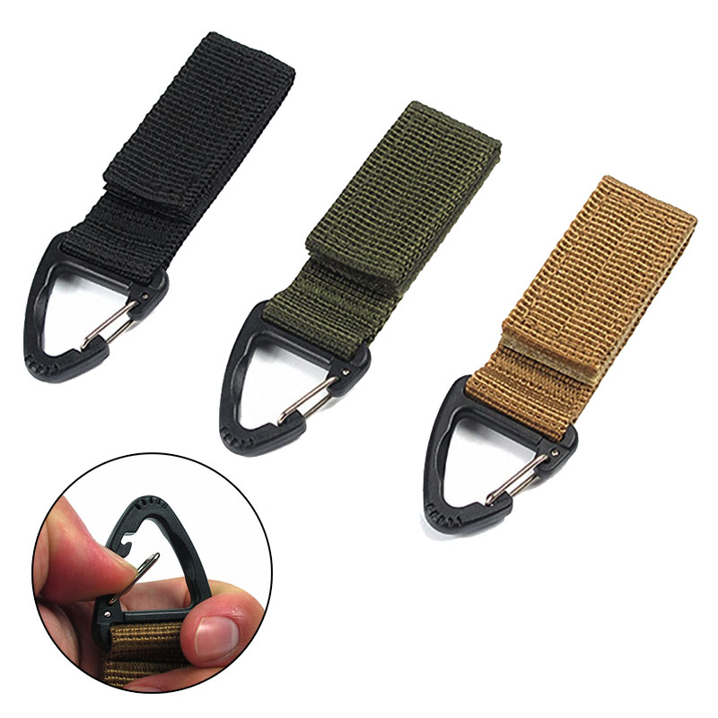 Molle Clip Webbing Belt EDC High Strength Nylon Carabiner Hanging Chain Backpack Key Hook Outdoor Military Webbing Buckle 1PC