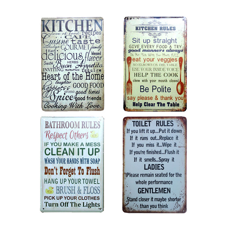 US $5 07 35% OFF|Bathroom House Rules Poster Metal Tin Sign Coffee Pub Club  Poster Tips Vintage Plaque Toilet Rules Famly Wall Decor Plate 20*30-in
