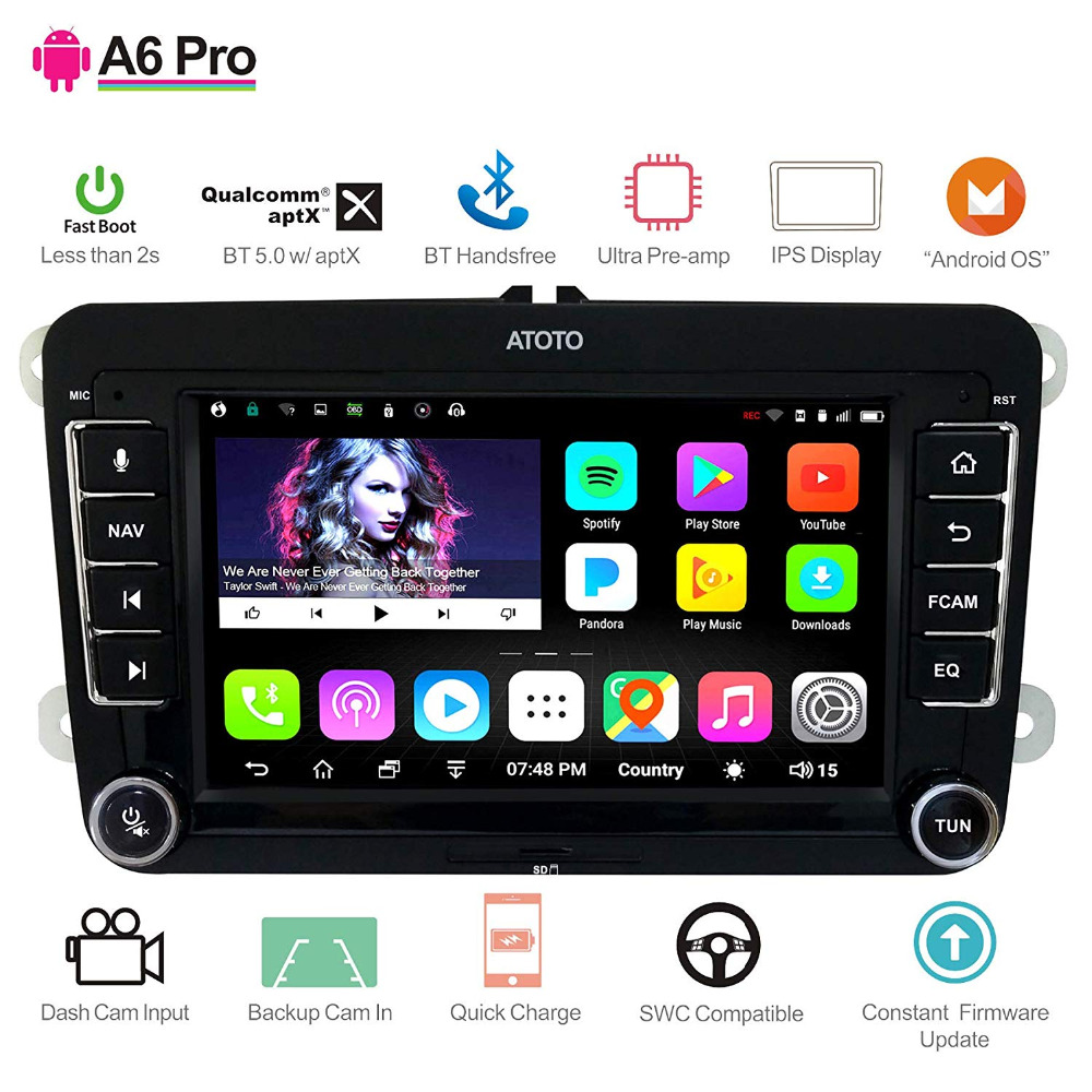 [For Volkswagen/VW] ATOTO A6 Android Car Navigation GPS Stereo 2x Bluetooth aptX /Ultra Preamplifier Pro A6YVW721PRB Radio