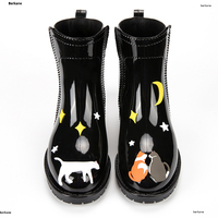 Cat Rain Boots Women Pvc Slip On Waterproof Flamingo With Heel Water Shoes Short Ankle Gummistiefel Rainboot Star Female Rubber