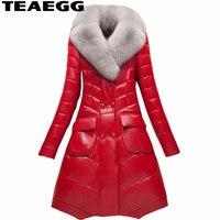 TEAEGG плюс Размеры 4XL высокое качество искусственного меха кожаные пальто Chaquetas Cuero Mujer красный ПУ дамы Кожаные Куртки верхняя одежда; парка