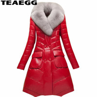 TEAEGG Plus Size 4XL High Quality Faux Fur Leather Coat Chaquetas Cuero Mujer Red PU Ladies Leather Jackets Outwear Parka AL1316