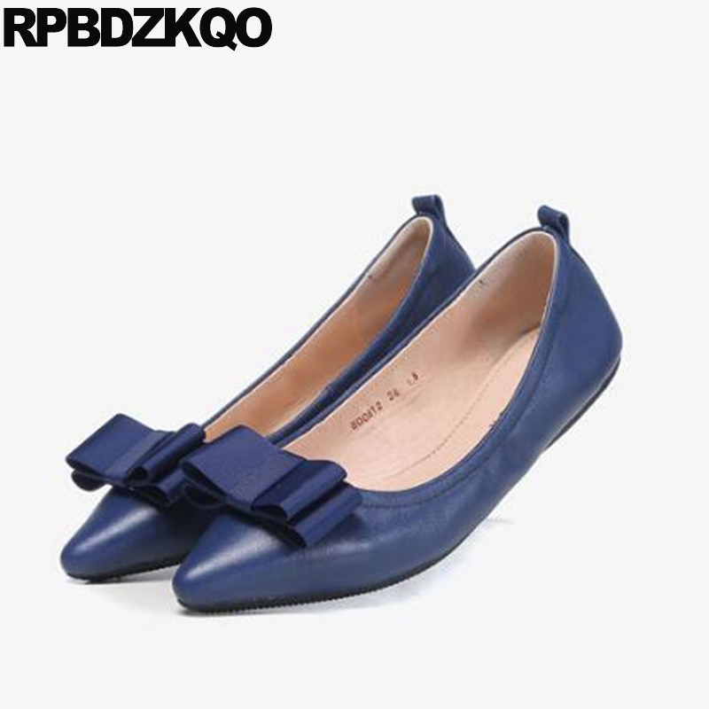 Ladies High Quality China Blue Chinese Women Slip On Luxury Brand Shoes Bow Foldable Pointed Toe Flats European Fashion Drop