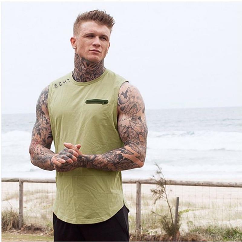 2017 Brand Mens Summer Cotton Slim Fit Men Tank Tops Clothing Bodybuilding Undershirt Golds Fitness Tops Tees 2 Color