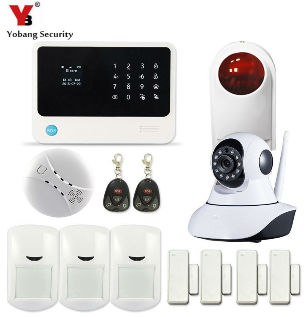 YobangSecurity Touch Screen WiFi GSM Wireless Home Security Alarm System APP Control IP Camera Outdoor Siren Fire Smoke Alarm 868mhz wireless gsm alarm system 7 inch touch screen home alarm with bulit in lithium battery with wireless outdoor solar siren