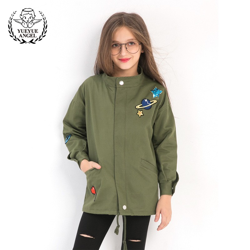 Spring Baby Coat Green Childrens Coats Jacket Spring Jacket For Girl Windbreaker Casaco Menina Clothes For Girls 12 Years Old