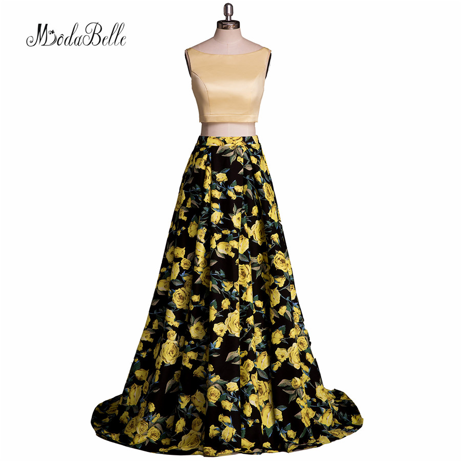 Vraie image fleur imprimer équipée robe de bal jaune noir deux pièces Galajurken Backless Sexy 2016 robes de soirée modestes pour les adolescents