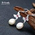 Artilady butterfly design genuine pearl dangle earrings elegant 925 sterling silver drop earrings for women jewelry gift party